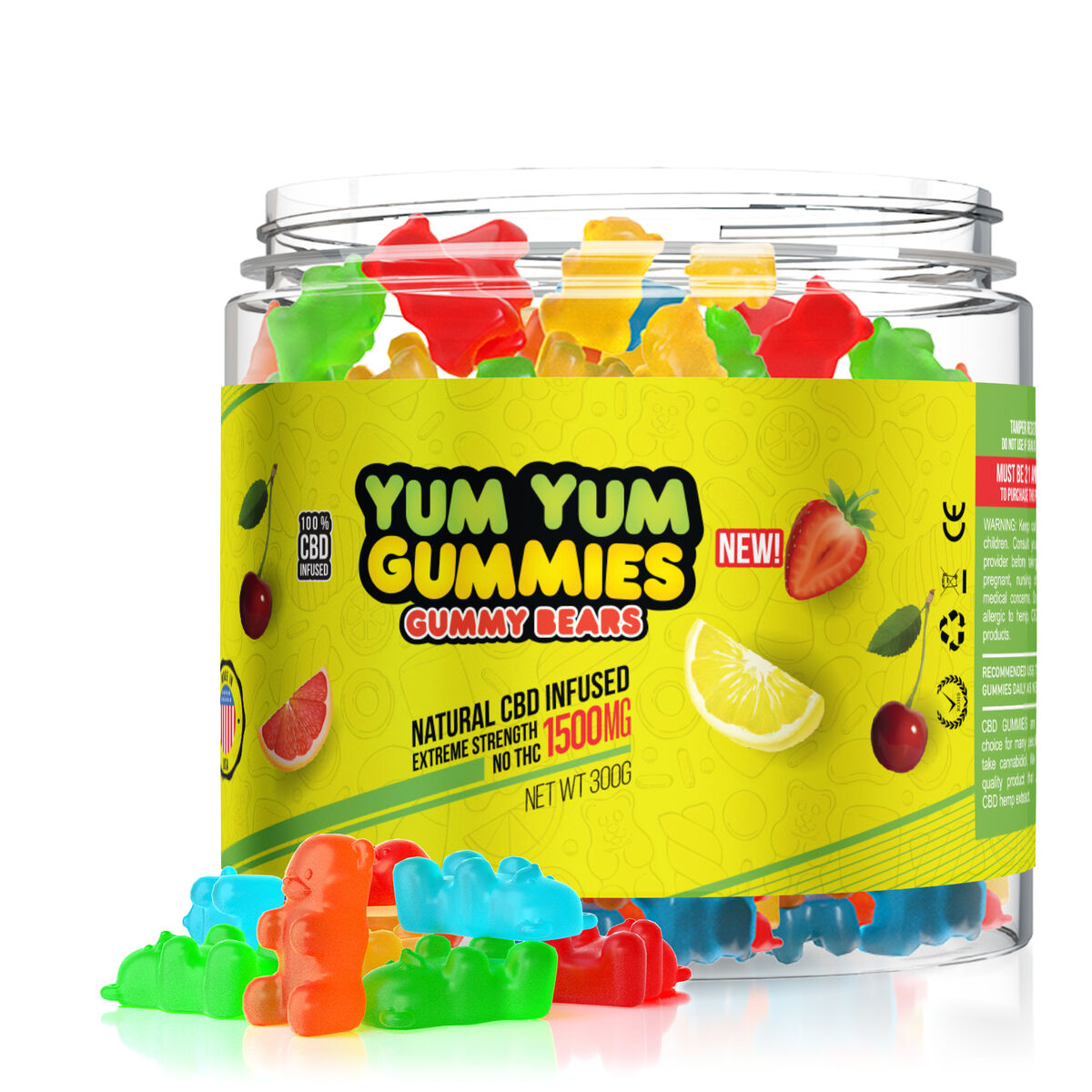Yum Yum Gummies 1500mg - CBD Infused Gummy Bears