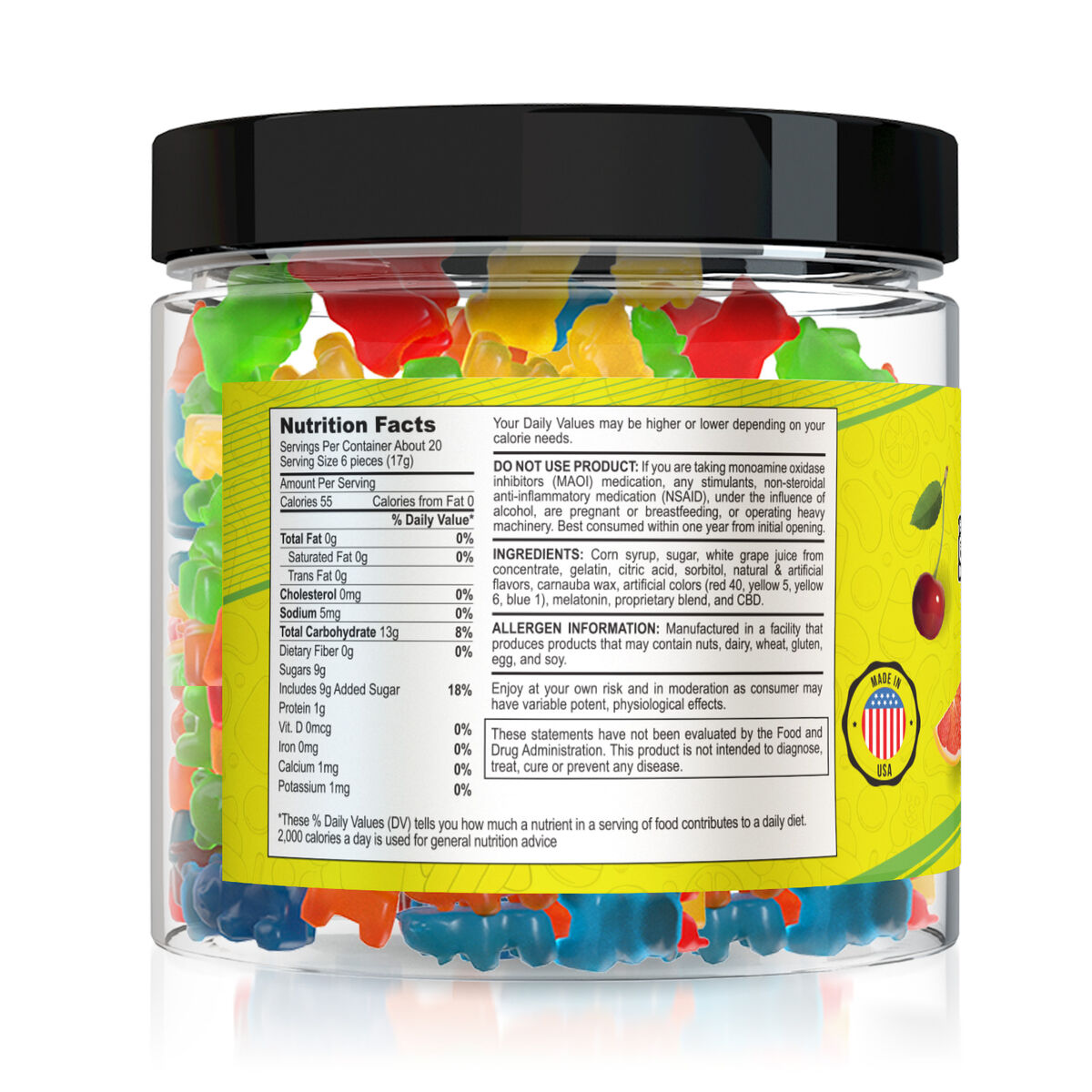 Yum Yum Gummies 1500mg - CBD Infused Gummy Bears nutrition facts