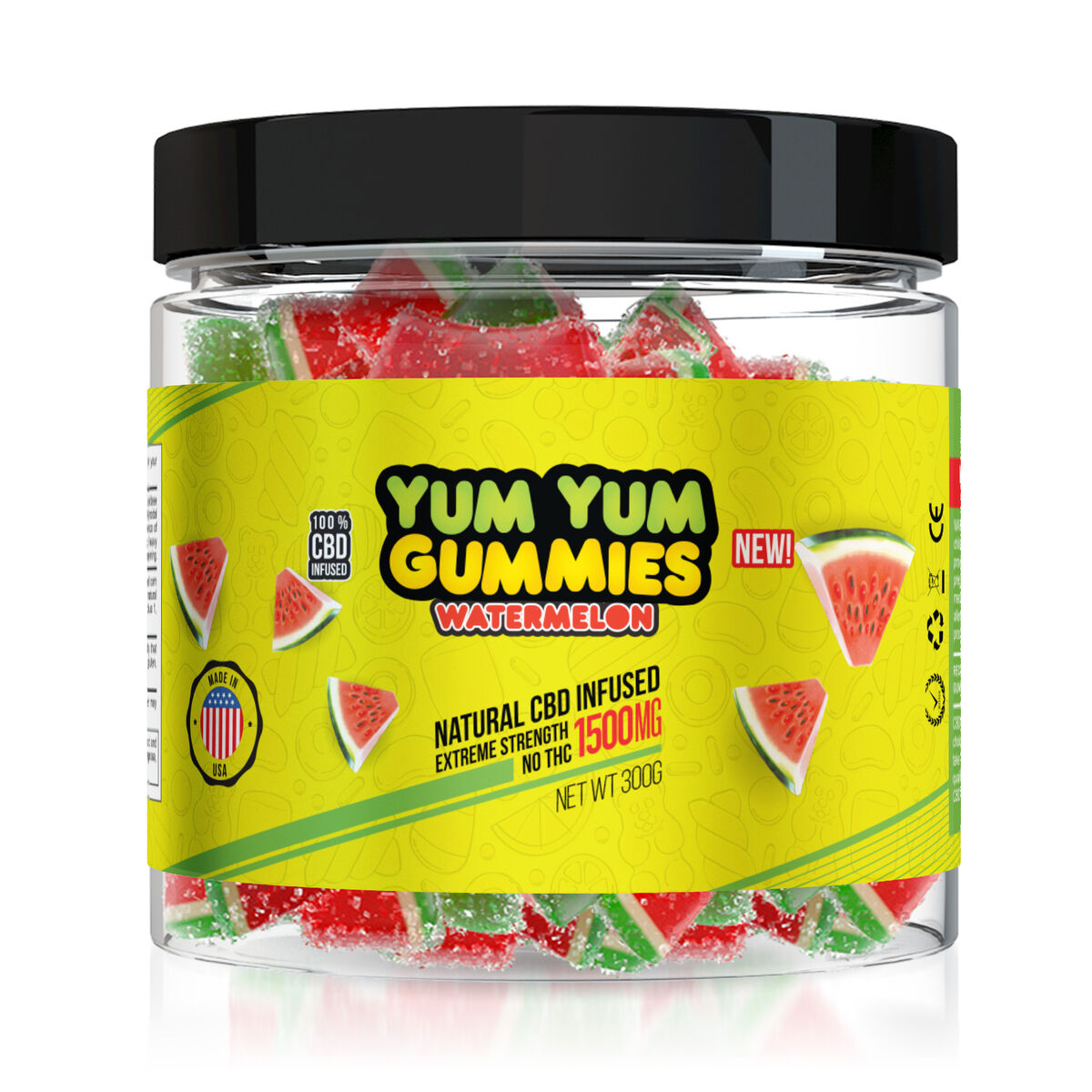 Yum Yum Gummies 1500mg - CBD Infused Watermelon Slices