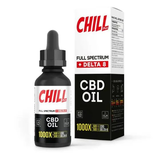 Chill Plus Full Spectrum Delta-8 CBD Oil - 1000X 500mg