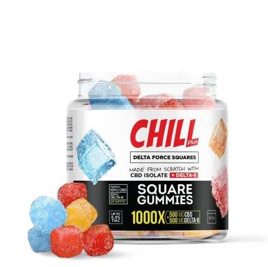 Chill Plus Delta Force Squares Gummies - 1000X square gummies
