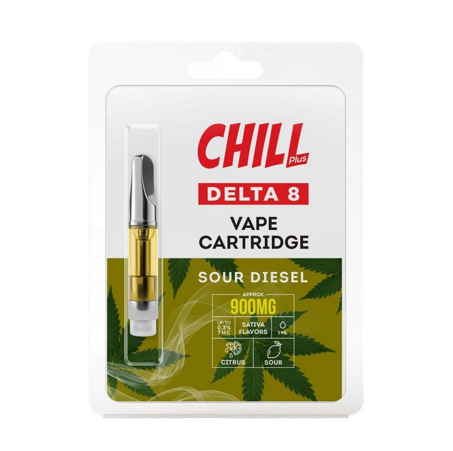Chill Plus Delta-8 Vape Cartridge - Sour Diesel - 900mg (1ml)