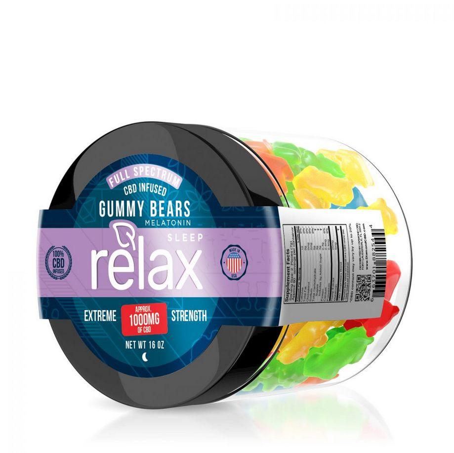 Relax Full Spectrum CBD Sleep Gummy Bears with Melatonin - 1000mg
